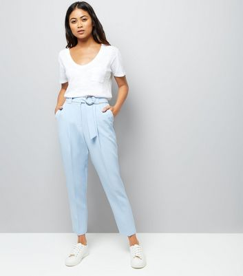Petite Pale Blue Circle Belt Slim Leg Trousers