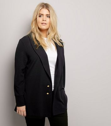 Curves Black Crepe Button Front Longline Blazer