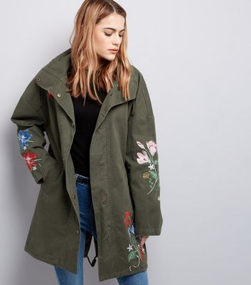 Khaki Floral Embroidered Parka