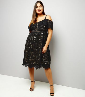 Curves Black Premium Lace Cold Shoulder Midi Skater Dress