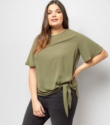 Curves Khaki Tie Side T-Shirt