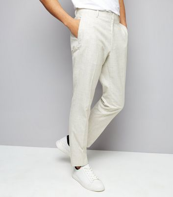 Off White Cross Hatch Skinny Tailored Trousers