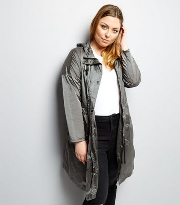 Curves Silver Hooded Longline Jacket