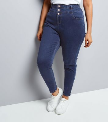 Curves Blue High Waist Skinny Yazmin Jeans