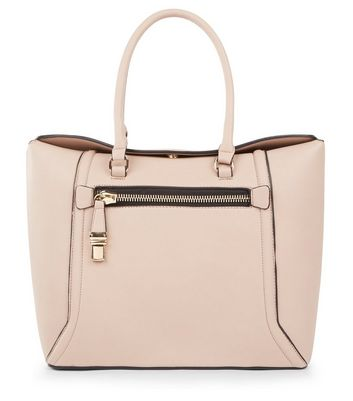 Nude Pink Zip Pocket Front Tote Bag