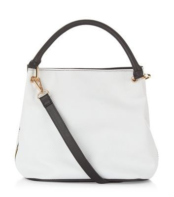 White Snakeskin Texture Mini Duffle Bag