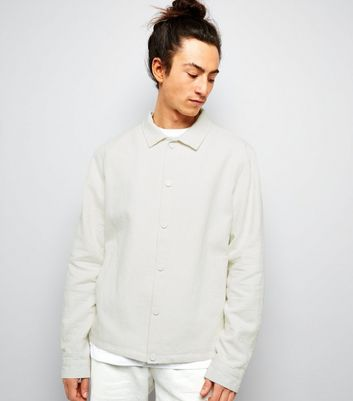 Off White Crepe Linen Tailored Coach Jacket