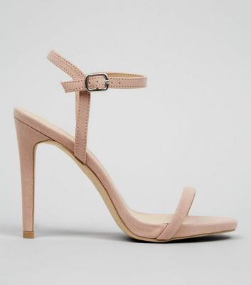 Nude Pink Suedette Ankle Strap Heeled Sandals