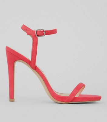 Pink Suedette Ankle Strap Heeled Sandals