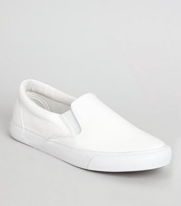 White Snakeskin Textured Slip On Trainers