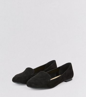 Black Suedette Stitch Detail Loafers