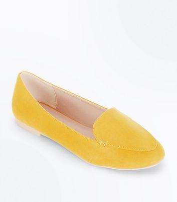 Yellow Suedette Stitch Detail Loafers