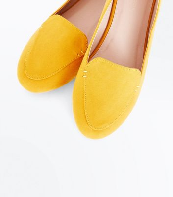 New Look - Yellow Suedette Stitch Detail Loafers - 3