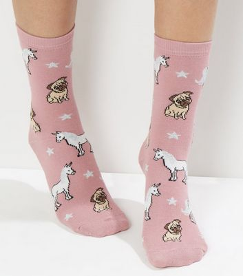 Pink Unicorn Print Socks