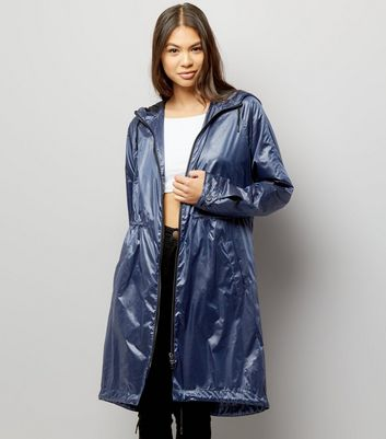 Leichter Parka in Blau-Metallic