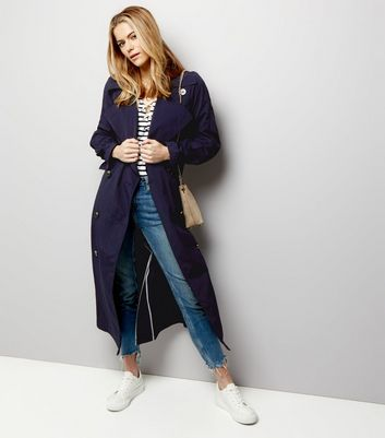 Navy Button Front Belted Trench Coat