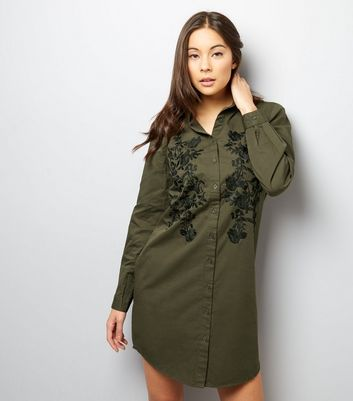 Khaki Floral Embroidered Long Sleeve Shirt Dress