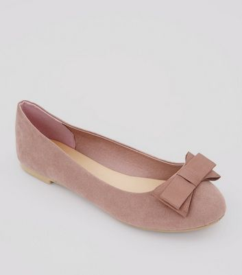 Wide Fit Pink Suedette Bow Ballerina Pumps