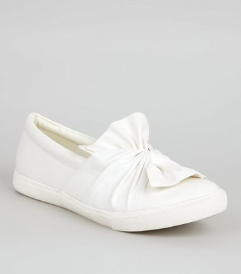Wide Fit White Bow Front Slip On Trainers