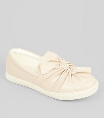 Wide Fit Nude Bow Front Slip On Trainers