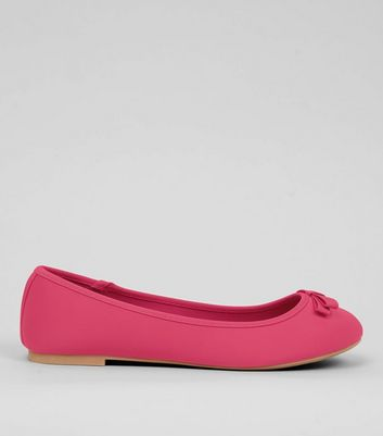 Wide Fit Bright Pink Satin Ballet Pumps