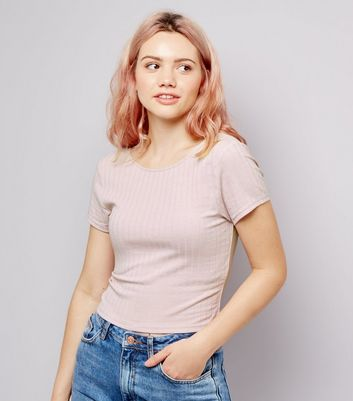 Pink Ribbed Short Sleeve Scoop Neck Crop Top