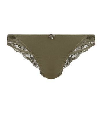 Maternity Khaki Lace Trim Strappy Brazilian Briefs