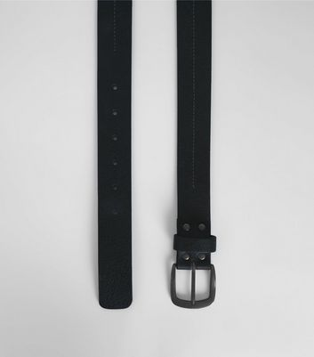 Black Leather Stitch Detail Belt