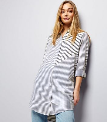 Innocence Blue Stripe Roll Sleeve Longline Shirt
