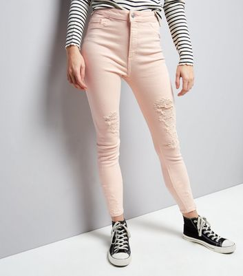 Shell Pink Ripped High Waist Skinny Hallie Jeans