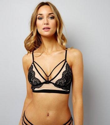 Black Mesh And Lace Longline Multi Strap Bralet
