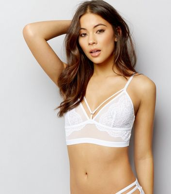 White Mesh And Lace Longline Multi Strap Bralet