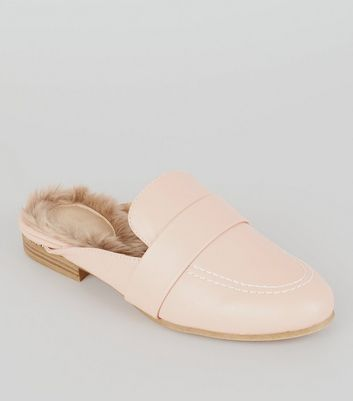 Pink Faux Fur Lined Mules