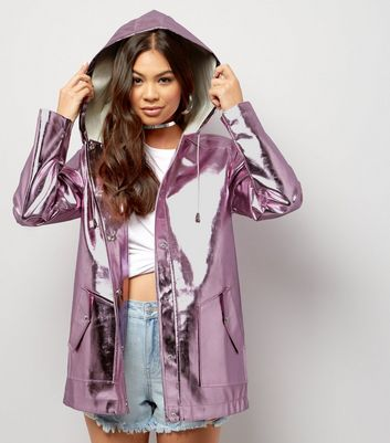 Pink Metallic Hooded Anorak