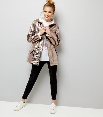 Silver Metallic Leather-Look Anorak