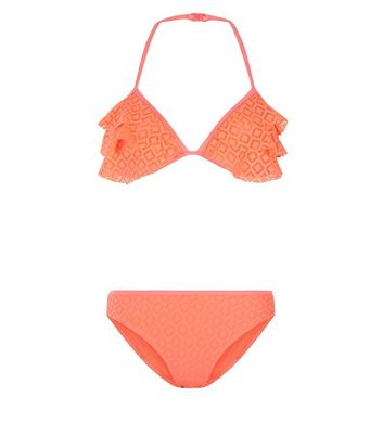 Teens Orange Crochet Frill Scruba Bikini
