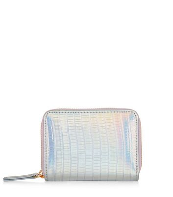 Silver Holographic Croc Texture Cardholder