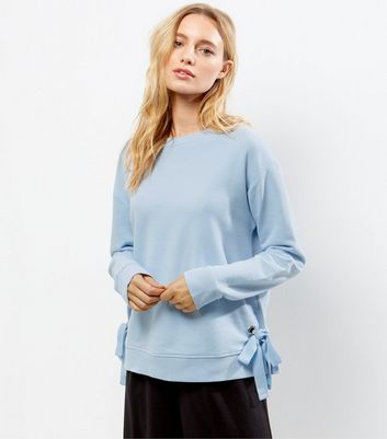 Pale Blue Tie Side Sweater