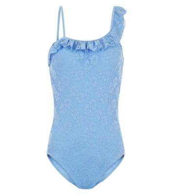Teens Blue Lace One Shoulder Frill Trim Swimsuit