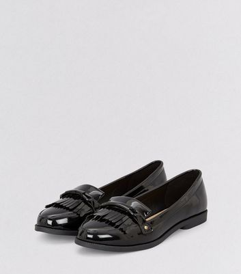 Black Patent Fringe Trim Loafers