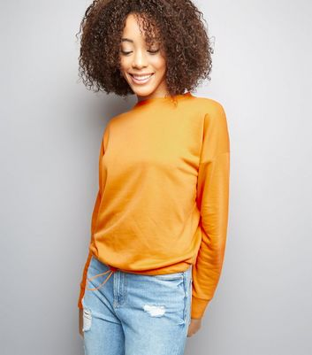 Orange Long Sleeve Drawstring Hem Sweater