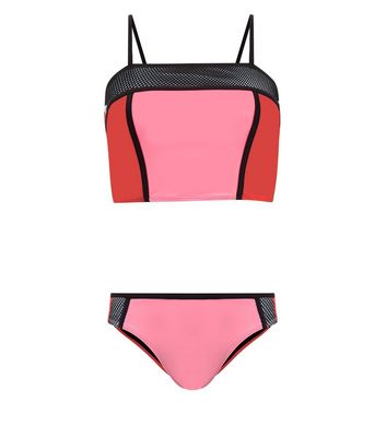 Ados - Tankini rouge color block