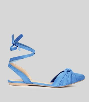 Pale Blue Knot Front Tie Up Sandals