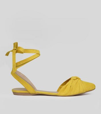 Yellow Knot Front Tie Up Sandals