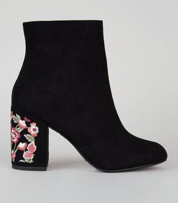 Black Suedette Floral Embroidered Heel Boots