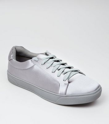 Grey Satin Lace Up Trainers