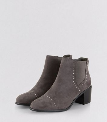 Grey Stud Trim Heeled Boots