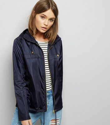Navy Zip Front Fold Away Anorak