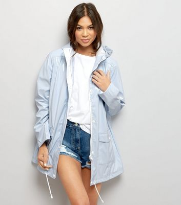 Pale Blue Patent Hooded Anorak