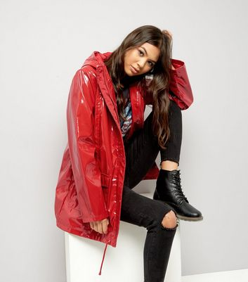 Red Patent Hooded Anorak